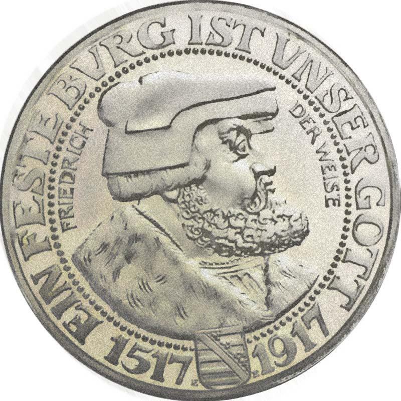 Sachsen 3 Mark 1917 Friedrich der Weise Silbermünzen