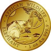 Somalia Elefant Goldmünze