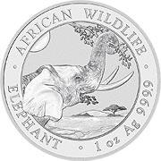 Somalia Elefant  Silbermünze