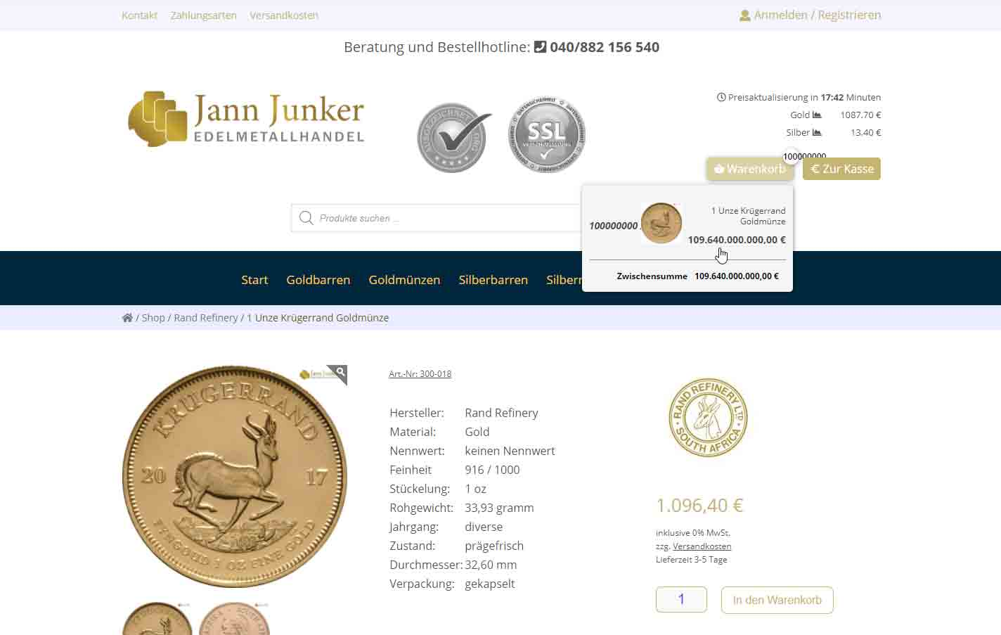 Junker Edelmetallhandel Webseite
