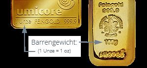 Goldbarren 1 Unze geprägt