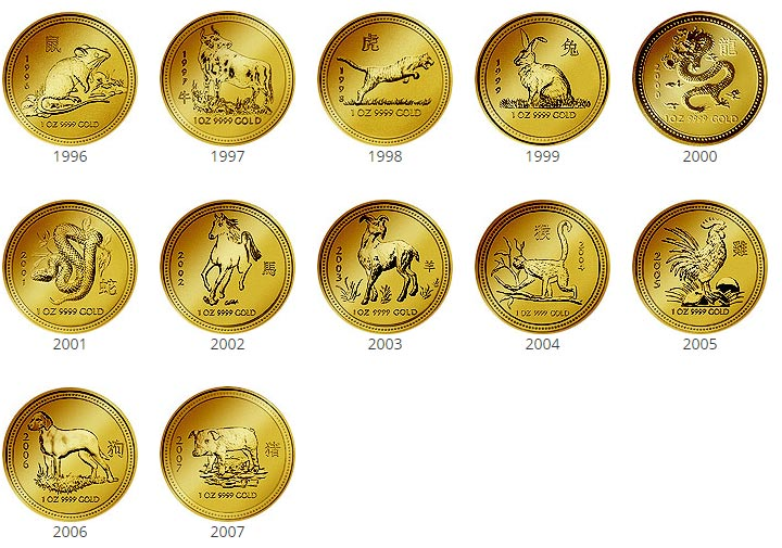 Lunar 1 Gold - Alle Motive der Serie komplett