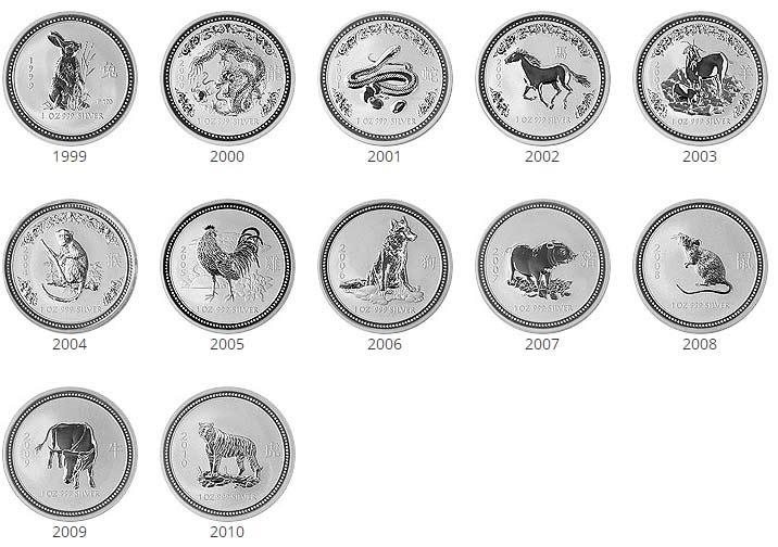 Lunar 1 Silber - Alle Motive der Serie komplett