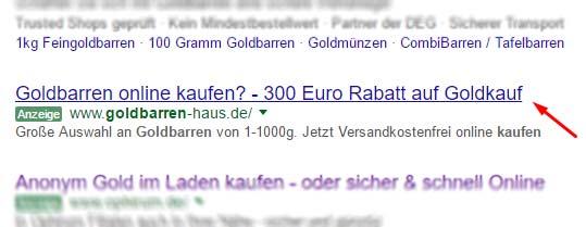 Goldbarren-haus.de Werbung in der Suche