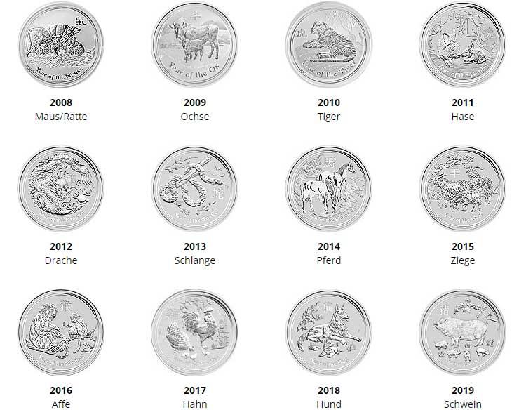 Lunar II Silbermünzen komplett Serie, alle Motive bis 2018