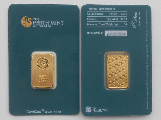10 g Perth Mint Barren aus Gold in grünem Blister