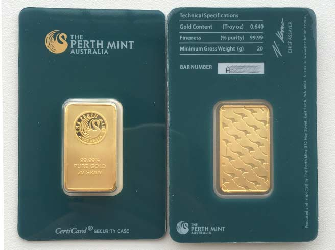 Perth Mint 20 g Gold-Barren (Blister grün)