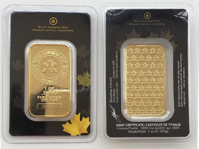 Gefälschter Fake Goldbarren der RCM (Royal Canadian Mint) 1 oz