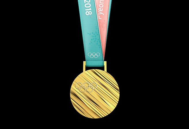 Goldmedaille Pyeongchang Frontansicht