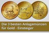 Die 3 besten Anlagemünzen für Gold - Einsteiger