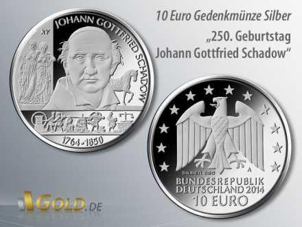 2. Motiv 2014: 250. Geburtstag Johann Gottfried Schadow, Gedenk-Münze 10 Euro Silber