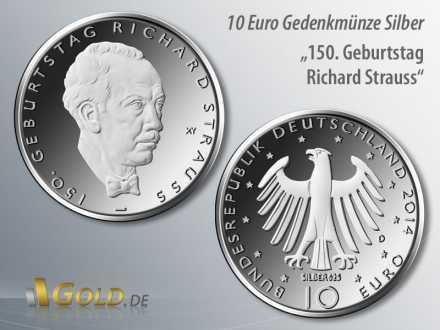 3. Münze 2014: 150. Geburtstag Richard Strauss, Silber-Gedenk-Münze 10 Euro