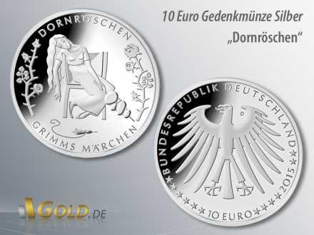 1. Ausgabe 2015: Dornröschen, aus der Serie Grimms Märchen, 10 Euro Gedenkmünze Silber