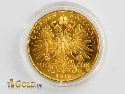 100 Gold-Kronen Österreich - Schriftzug CORONAE MDCCCCXV