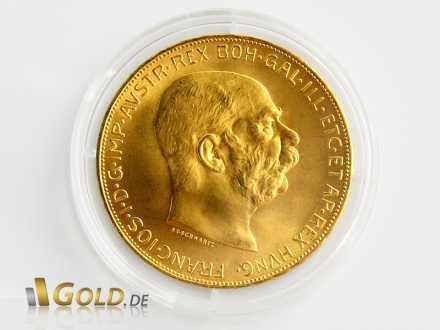 Kaiser Franz Joseph I. auf der österreichischen 100 Kronen Münze aus Gold