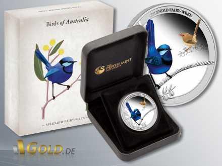 Birds of Australia, Splendid Fairy Wren 2013, 1/2 oz Silber, Verpackung und Schatulle