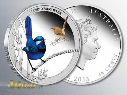 Birds of Australia, Splendid Fairy Wren 2013, Silbermünze 1/2 Unze