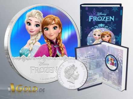 Disney Frozen - Magic of the Northern Lights Princessin Elsa uns Anna 1 oz Silbermünze Proof