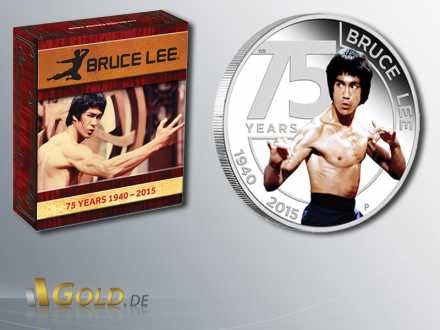 Bruce Lee, 75th Anniversary of Bruce Lee,Silbermünze 2015 1 oz, mit Hülle