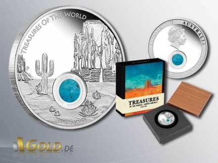 North America 2015 Treasures of the World, Display mit schwenkbarem Echtholzdeckel, Silbermünze 1 oz