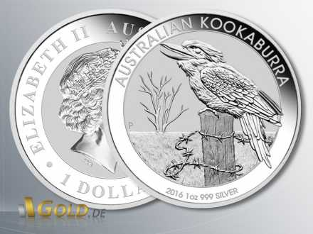 Australian Kookaburra High Relief 1 oz 2016 in Silber
