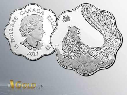 Lunar Kanada 2017 Rooster Hahn Lotusform Silbermünze