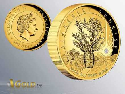 Kimberley-Sunrise 2016 2 oz Gold Proof High-Relief mit Diamant