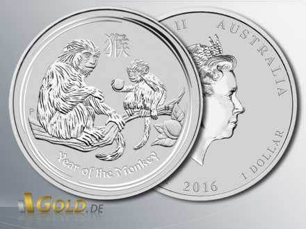 Lunar II Affe 2016, Year of the Monkey Silber 1 oz