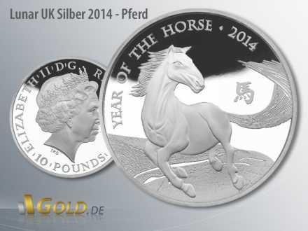 Lunar Britannien 1 oz in Silber, Motiv 2014: Pferd