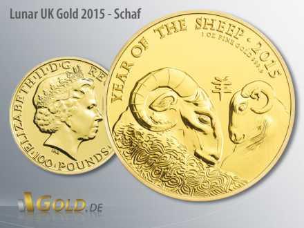 Lunar Britannien 1 oz in Gold, Motiv 2015: Schaf