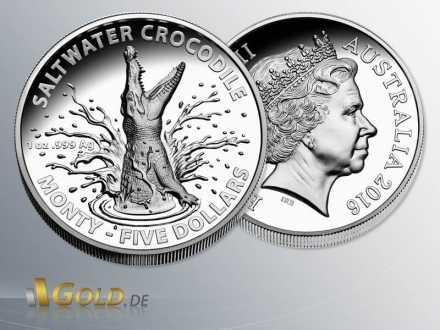 Salzwasser-Krokodil (saltwater crocodile) Monty, 2016, 1 oz Silber, Silbermünze Vorder- und Rückseite