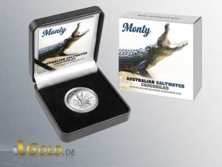 Salzwasser-Krokodil (saltwater crocodile) Monty, 2016, 1 oz Silber, Silbermünze Shipper