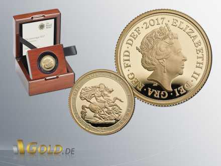 Sovereign 2017 Royal Mint Proof 1oz  Elisabeth II. mit Krone Goldmünze + Shipper