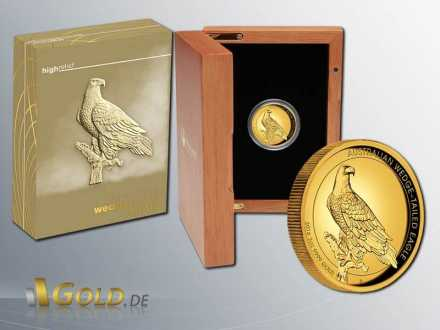 Wedge-tailed Eagle 2016 High Relief 2 oz Goldmünze Shipper