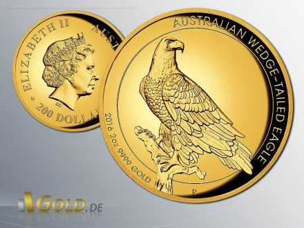 Wedge-tailed Eagle 2016 High Relief 2 oz Goldmünze