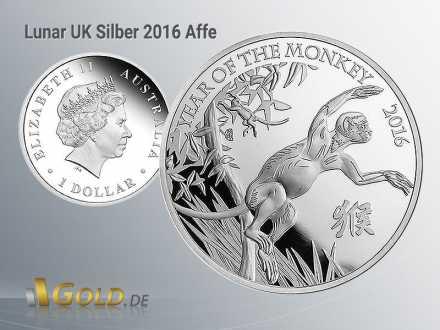 Lunar UK1 oz in Silber, Motiv 2016: Affe