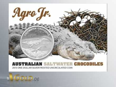 Salzwasser-Krokodil (saltwater crocodile) Agro Jr. 2015, 1 oz Silber, Vorderseite des Blisters mit Münze