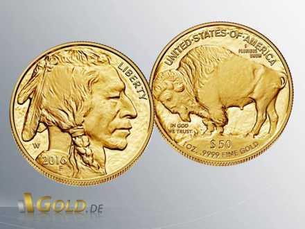 American Gold Buffalo 2016 1 oz Proof, Vorder- und Rückseite
