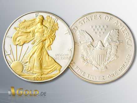 American Eagle Silbermünze von 2007, gilded (vergoldet)