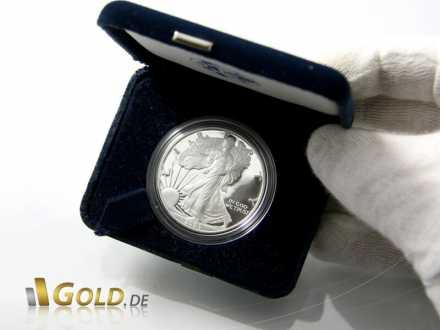 American Eagle Silbermünze PP, 2005, mit Schatulle