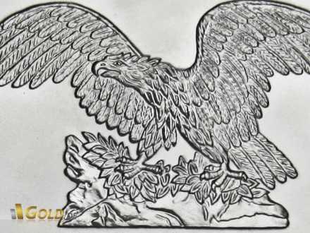 Detailaufnahme der Silbermünze Andorra Eagle