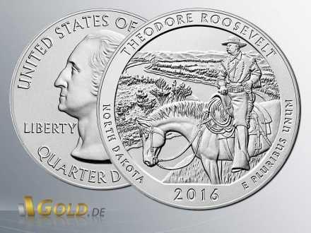 America the Beautiful 201, 34. North Dakota - Theodore Roosevelt National Park Uncirkuliert 2016 (Silbermünze, 5 oz)