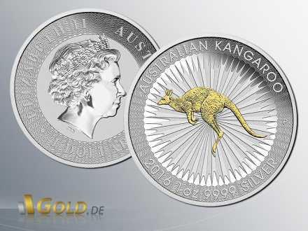 Australian Kangaroo Silbermünze 2016 1 oz Gilded