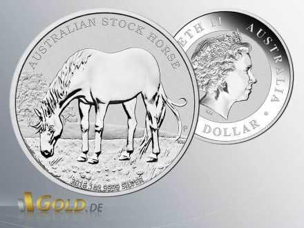 Australian Stock Horse 2013, Vorder- und Rückseite der 1 oz Silber-Münze