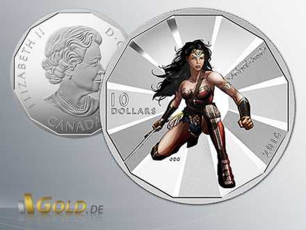 Batman v Superman Dawn of Justice, Wonder Woman 1/2 oz, 2016, RCM,  Silber