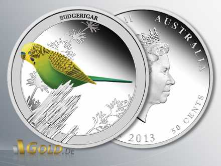 Birds of Australia, Budgeriar 2013, Wellensittich, 1/2 oz Silber PP