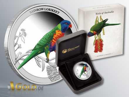 Birds of Australia 2013 Silber, Rainbow Lorikeet, Schatulle und Verpackung