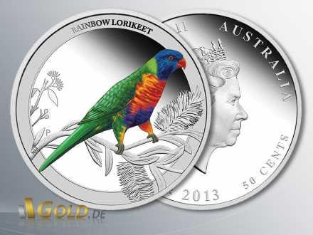 Birds of Australia 2013, Rainbow Lorikeet, Allfarblori, 1/2 oz Silber