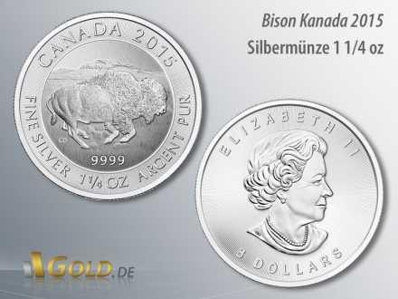 Canadian Bison 2015, Silbermünze aus Kanada, 1 1/4 oz