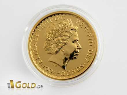 Goldene Britannia, 1 oz, Jahrgang 2012, Wertseite mit Königin Elisabeth